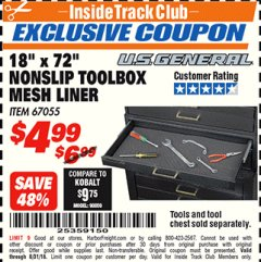 "Harbor Freight ITC Coupon 18"" x 72"" NONSLIP TOOLBOX MESH LINER Lot No. 67055 Expired: 8/31/18 - $4.99"