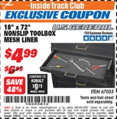 "Harbor Freight ITC Coupon 18"" x 72"" NONSLIP TOOLBOX MESH LINER Lot No. 67055 Expired: 2/28/19 - $4.99"