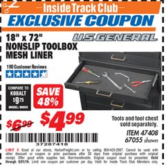 "Harbor Freight ITC Coupon 18"" x 72"" NONSLIP TOOLBOX MESH LINER Lot No. 67055 Expired: 8/31/19 - $4.99"
