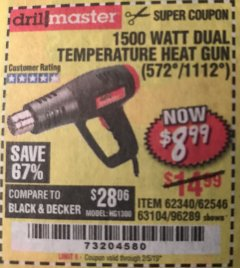 Harbor Freight Coupon 1500 WATT DUAL TEMPERATURE HEAT GUN (572/1112) Lot No. 96289/62340/62546/63104 Expired: 2/5/19 - $8.99