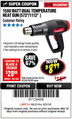 Harbor Freight Coupon 1500 WATT DUAL TEMPERATURE HEAT GUN (572/1112) Lot No. 96289/62340/62546/63104 Expired: 10/21/18 - $8.99