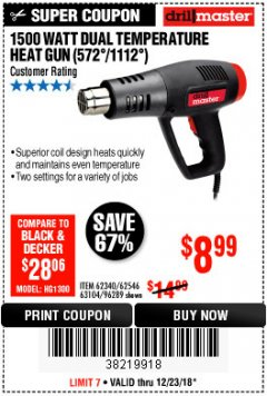 Harbor Freight Coupon 1500 WATT DUAL TEMPERATURE HEAT GUN (572/1112) Lot No. 96289/62340/62546/63104 Expired: 12/23/18 - $8.99