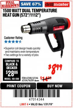 Harbor Freight Coupon 1500 WATT DUAL TEMPERATURE HEAT GUN (572/1112) Lot No. 96289/62340/62546/63104 Expired: 1/31/19 - $8.99
