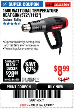 Harbor Freight Coupon 1500 WATT DUAL TEMPERATURE HEAT GUN (572/1112) Lot No. 96289/62340/62546/63104 Expired: 2/24/19 - $8.99