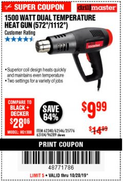 Harbor Freight Coupon 1500 WATT DUAL TEMPERATURE HEAT GUN (572/1112) Lot No. 96289/62340/62546/63104 Expired: 10/20/19 - $9.99