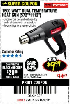 Harbor Freight Coupon 1500 WATT DUAL TEMPERATURE HEAT GUN (572/1112) Lot No. 96289/62340/62546/63104 Expired: 11/30/19 - $9.99