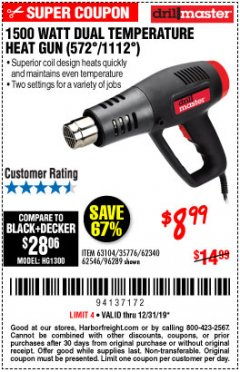 Harbor Freight Coupon 1500 WATT DUAL TEMPERATURE HEAT GUN (572/1112) Lot No. 96289/62340/62546/63104 Expired: 12/31/19 - $8.99