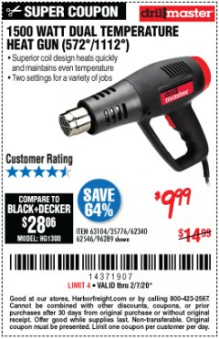 Harbor Freight Coupon 1500 WATT DUAL TEMPERATURE HEAT GUN (572/1112) Lot No. 96289/62340/62546/63104 Expired: 2/7/20 - $9.99