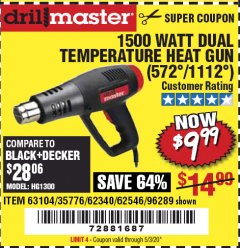 Harbor Freight Coupon 1500 WATT DUAL TEMPERATURE HEAT GUN (572/1112) Lot No. 96289/62340/62546/63104 Valid Thru: 6/30/20 - $9.99