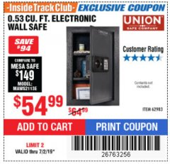 Harbor Freight ITC Coupon 0.53 CUBIC FT. DIGITAL WALL SAFE Lot No. 62983/97081 Expired: 7/2/19 - $54.99