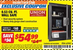 Harbor Freight ITC Coupon 0.53 CUBIC FT. DIGITAL WALL SAFE Lot No. 62983/97081 Expired: 8/31/19 - $54.99