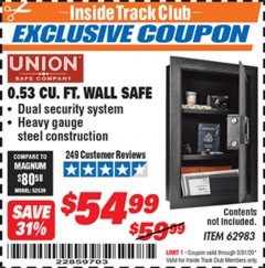 Harbor Freight ITC Coupon 0.53 CUBIC FT. DIGITAL WALL SAFE Lot No. 62983/97081 Expired: 3/31/20 - $54.99