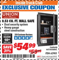 Harbor Freight ITC Coupon 0.53 CUBIC FT. DIGITAL WALL SAFE Lot No. 62983/97081 Valid Thru: 6/30/20 - $54.99