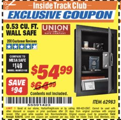 Harbor Freight ITC Coupon 0.53 CUBIC FT. DIGITAL WALL SAFE Lot No. 62983/97081 Expired: 6/17/19 - $54.99