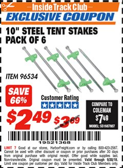 "Harbor Freight ITC Coupon 10"" STEEL TENT STAKES PACK OF 6 Lot No. 96534 Expired: 9/30/18 - $2.49"