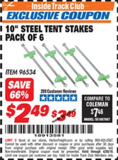 "Harbor Freight ITC Coupon 10"" STEEL TENT STAKES PACK OF 6 Lot No. 96534 Expired: 4/30/19 - $2.49"