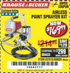 Harbor Freight Coupon AIRLESS PAINT SPRAYER KIT Lot No. 62915/60600 Expired: 10/1/18 - $169.99
