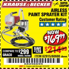Harbor Freight Coupon AIRLESS PAINT SPRAYER KIT Lot No. 62915/60600 Expired: 12/15/18 - $169.99