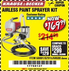 Harbor Freight Coupon AIRLESS PAINT SPRAYER KIT Lot No. 62915/60600 Expired: 2/8/19 - $169.99