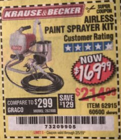 Harbor Freight Coupon AIRLESS PAINT SPRAYER KIT Lot No. 62915/60600 Expired: 2/5/19 - $169.99