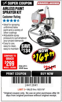 Harbor Freight Coupon AIRLESS PAINT SPRAYER KIT Lot No. 62915/60600 Expired: 10/21/18 - $164.99