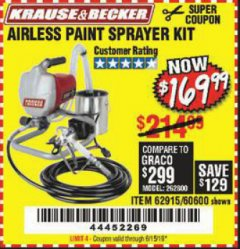 Harbor Freight Coupon AIRLESS PAINT SPRAYER KIT Lot No. 62915/60600 EXPIRES: 6/15/19 - $169.99