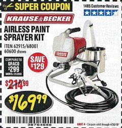 Harbor Freight Coupon AIRLESS PAINT SPRAYER KIT Lot No. 62915/60600 Valid Thru: 4/30/19 - $169.99