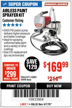Harbor Freight Coupon AIRLESS PAINT SPRAYER KIT Lot No. 62915/60600 Expired: 4/7/19 - $169.99