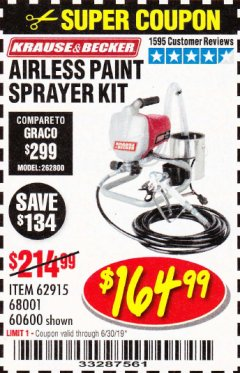 Harbor Freight Coupon AIRLESS PAINT SPRAYER KIT Lot No. 62915/60600 Expired: 6/30/19 - $164.99
