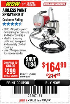 Harbor Freight Coupon AIRLESS PAINT SPRAYER KIT Lot No. 62915/60600 Expired: 6/16/19 - $164.99