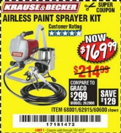 Harbor Freight Coupon AIRLESS PAINT SPRAYER KIT Lot No. 62915/60600 Expired: 10/14/19 - $169.99