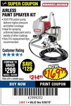 Harbor Freight Coupon AIRLESS PAINT SPRAYER KIT Lot No. 62915/60600 Expired: 9/30/19 - $169.99