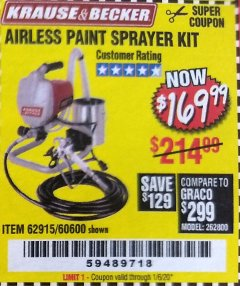 Harbor Freight Coupon AIRLESS PAINT SPRAYER KIT Lot No. 62915/60600 Expired: 1/6/20 - $169.99