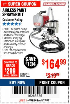 Harbor Freight Coupon AIRLESS PAINT SPRAYER KIT Lot No. 62915/60600 Expired: 9/22/19 - $164.99