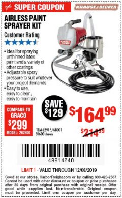 Harbor Freight Coupon AIRLESS PAINT SPRAYER KIT Lot No. 62915/60600 Expired: 12/6/19 - $164.99