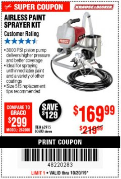 Harbor Freight Coupon AIRLESS PAINT SPRAYER KIT Lot No. 62915/60600 Expired: 10/20/19 - $169.99