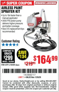 Harbor Freight Coupon AIRLESS PAINT SPRAYER KIT Lot No. 62915/60600 Expired: 1/26/20 - $164.99
