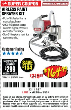 Harbor Freight Coupon AIRLESS PAINT SPRAYER KIT Lot No. 62915/60600 Expired: 3/8/20 - $164.99