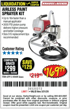 Harbor Freight Coupon AIRLESS PAINT SPRAYER KIT Lot No. 62915/60600 Expired: 3/31/20 - $169.99