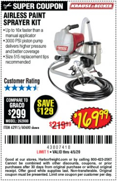 Harbor Freight Coupon AIRLESS PAINT SPRAYER KIT Lot No. 62915/60600 Expired: 6/30/20 - $169.99