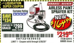 Harbor Freight Coupon AIRLESS PAINT SPRAYER KIT Lot No. 62915/60600 Expired: 6/30/20 - $164.99