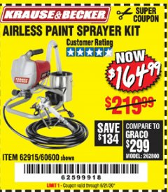 Harbor Freight Coupon AIRLESS PAINT SPRAYER KIT Lot No. 62915/60600 Expired: 6/21/20 - $164.99