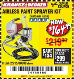 Harbor Freight Coupon AIRLESS PAINT SPRAYER KIT Lot No. 62915/60600 Expired: 6/28/20 - $164.99