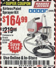 Harbor Freight Coupon AIRLESS PAINT SPRAYER KIT Lot No. 62915/60600 Valid Thru: 7/31/20 - $164.99