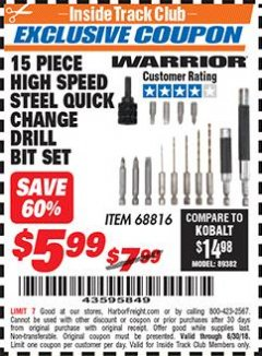 Harbor Freight ITC Coupon 15 PIECE HIGH SPEED STEEL QUICK CHANGE DRILL BIT SET Lot No. 68816 Expired: 6/30/18 - $5.99