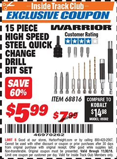 Harbor Freight ITC Coupon 15 PIECE HIGH SPEED STEEL QUICK CHANGE DRILL BIT SET Lot No. 68816 Expired: 11/30/18 - $5.99