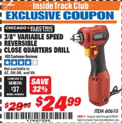 "Harbor Freight ITC Coupon 3/8"" REVERSIBLE CLOSE QUARTERS DRILL Lot No. 60610 Dates Valid: 12/31/69 - 6/30/20 - $24.99"