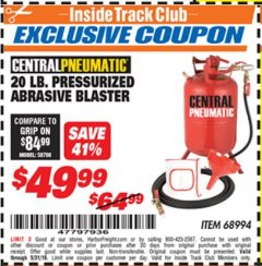Harbor Freight ITC Coupon 20 LB. PRESSURIZED ABRASIVE BLASTER Lot No. 68994 Dates Valid: 5/3/19 - 5/31/19 - $49.99
