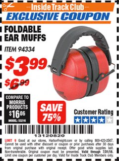 Harbor Freight ITC Coupon FOLDABLE EAR MUFFS Lot No. 94334 Expired: 7/31/18 - $3.99
