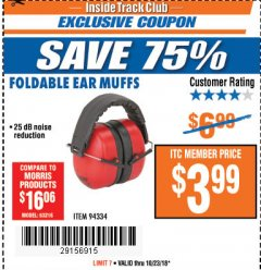 Harbor Freight ITC Coupon FOLDABLE EAR MUFFS Lot No. 94334 Expired: 10/23/18 - $3.99